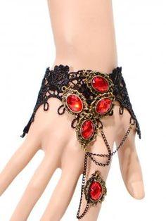 Vintage Cut Rubies Crochet Bracelet