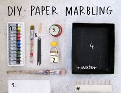 Make marbled paper and then create imaginative drawings within the texture.