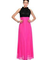 Buy Pink plain viscose dress western-wear online