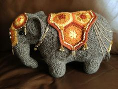 Ravelry: Project Gallery for Loxodonta & Elephas the african flower elephants pattern by Anne Rutgrink African Flower Crochet Animals, Knitted Animals, Crochet Flowers, Crochet Elephant, Elephant Pattern, Art Textile, Crochet Stitches Patterns, Tunisian Crochet, Graphic 45