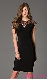 Buy Knee Length Cap Sleeve Holiday Dress at PromGirl