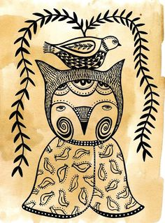 Decorative Owly Fox - Art Print. $18.00, via Etsy.