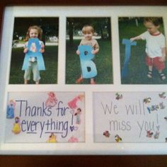 My goodbye nanny gift from my kiddos today. What a great gift idea. Abi could be replaced with Mom or Dad, etc. <3