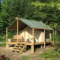 This veganic host farm in Brooksville, ME used their WWOOF-USA Small Farm Grant to build this tent for their WWOOFers! Tent Living, Outdoor Living, Bungalows, Tent Platform, Wall Tent, Cabin Tent, Camping Glamping, Small Farm, Cabin Homes