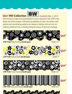 black and white collection for classroom decorations