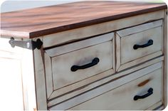Repurposed dressers as bedside tables