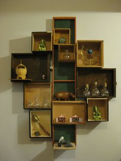 We Made A Set Of Small Shelves For The Wall Out Of Cigar Boxes Emily Has