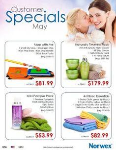 Norwex Customer May Specials!  Contact me via email gogreenteamlinda@yahoo.com