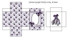 purple teddy in box