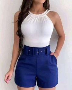 Belted Shorts Outfits, Crop Top Outfits, Mode Outfits, Cute Casual Outfits, Short Outfits, Stylish Outfits, Fashion Outfits, Chor, Mode Inspiration
