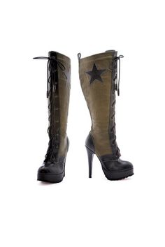 MILITIA - Knee high PU boot with star accent and bullet shoe lace.  Abbigliamento Vintage fbe673eaa65