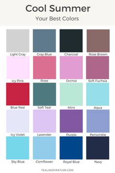 color analysis – Page 4 – Teal Inspiration Summer Color Palettes, Soft Summer Color Palette, Cool Skin Tone, Cool Tones, Catherine Heigl, Winter Colors, Summer Colors, Color Type, Winter Typ