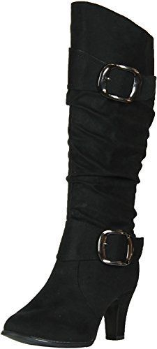 ANNA-NB200-04-Womens-Winkle-Shaft-Chunky-Heel-Knee-High-Boots-ColorBLACK-Size7-0
