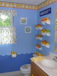 For a kids' bathroom, though without the toilet seat/curtain/wall paper border. Mostly as an inside joke to Rubber Duck Debugging :)