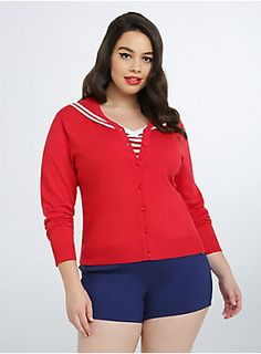 This eye-popping red knit cardi can be spotted in the darkest of storms; the button down front keeps you comfy no matter how much the boat rocks. The white striped sailor collar is embellished with anchor graphics that would never weigh you down. Plus Size Womens Clothing, Plus Size Outfits, Plus Size Fashion, Clothes For Women, Pin Up Outfits, Fashion Outfits, Plus Size Cardigans, Black Lace Bralette, Retro Chic