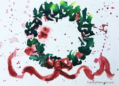 DIY Christmas Card wreath watercolor painting
