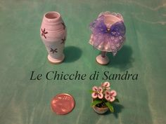 Vasi, abat jour in miniatura, realizzati con la carta. Fiori di smalto