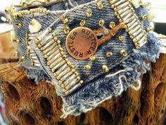 Beaded Denim Cuff, Denim Bracelet, Jeans Bracelet, Jeans Cuff  (Large) via Etsy
