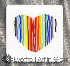 "Contemporary Fused Glass Wall Art, ""Vibrant Love"""