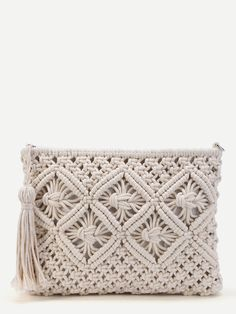 Shop Crochet Clutch Bag With Tassel online. SheIn offers Crochet Clutch Bag With… Shop Crochet Clutch Bag With Tassel online. SheIn offers Crochet Clutch Bag With Tassel & more to fit your fashionable needs. Macrame Design, Macrame Art, Macrame Projects, Macrame Knots, Crochet Projects, Macrame Mirror, Macrame Curtain, Diy Sac Bandoulière, Macrame Patterns