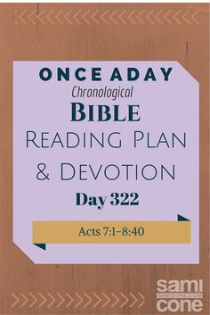 Once A Day Bible Reading Plan & Devotion Day 322