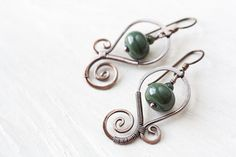 Moss green earrings oxidized hand forged copper by CookOnStrike