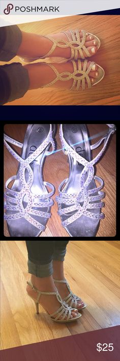 Rhinestone studded silver heels Size 6 rhinestone covered heels. Perfect for prom or special occasions! Only worn twice. Deb Shoes Heels