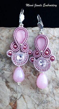 Pink Earrings, Boho Earrings, Crystal Earrings, Fashion Earrings, Crochet Earrings, Soutache Bracelet, Soutache Jewelry, Boho Jewelry, Unique Jewelry