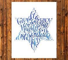 Calligraphy Star of David Hanukkah Chanukah por BellePapiers