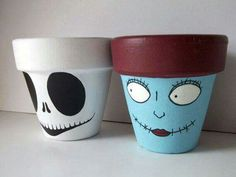 Nightmare Before Christmas Jack and Sally painted flower pots - use to hold Halloween candy? Fall Halloween, Halloween Crafts, Holiday Crafts, Holiday Fun, Halloween Decorations, Halloween Halloween, Christmas Decorations, Flower Pot Crafts, Clay Pot Crafts