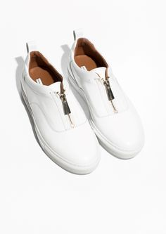& Other Stories   Zip-Up Leather Sneakers