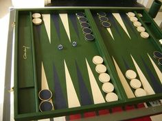 An elegant backgammon board signed by Omar Sharif Basement Games, Napoleon Solo, Backgammon Game, Unusual Furniture, Kings Game, Wood Spoon, Game Night, Chess, Furniture Makeover
