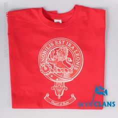 Stuart of Bute Clan Crest T Shirt. Free worldwide shipping available