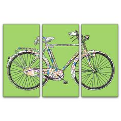 Atlanta Street Map Bicycle Triptych Canvas Giclee  by ModernCanvas, $185.00