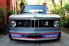 1974 BMW E10 2002 Turbo in Polaris metallic and Black leatherette interior.