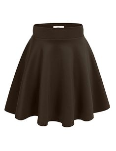 Simlu Women's A Line Flared Skater Skirt, Brown, X-Large
