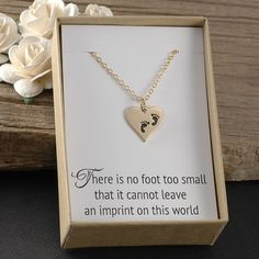 Miscarriage necklace, infant baby loss, SIDS, stillborn, stillbirth, baby memorial gift, heart charm with baby feet, gold, carded gift box by DivineJewelryGifts on Etsy https://www.etsy.com/listing/290185053/miscarriage-necklace-infant-baby-loss