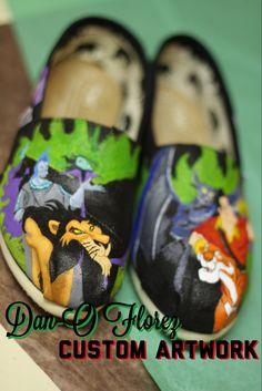 Disney Villains Inspired Custom Painted TOMS or Vans by DanOFlorez, $120.00