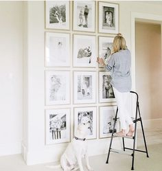 I am pretty much obsessed with gallery walls whether it's a random assortment or in a grid like this.