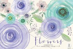 Watercolor lavender mint flowers by GrafikBoutique on @creativemarket