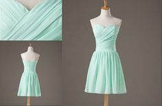 short mint sweetheart prom dresses    simple bridesmaid dress   cheap homecoming dress / party gown on Etsy, $55.00