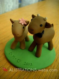 Goats Figurine (a wedding gift for my cousin and his bride) by Alison Taylor   www.alistrations.webs.com