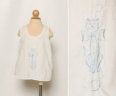 vintage 1960s baby girl's slip dress with embroidered cat by StopTheClock on Etsy