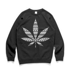 Aztec Weed Leaf Crewneck - Fast Charlies