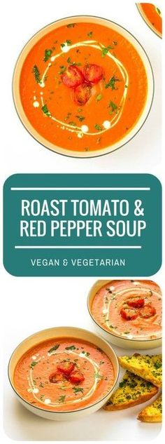 This deliciously creamy vegan Roasted Tomato & Red Pepper Soup is a saucepan-free soup - just roast, blitz, and serve! Couldn't be easier or tastier. Roasted Veg Soup, Roasted Red Pepper Soup, Roasted Tomatoes, Roasted Peppers, Chowder Recipes, Soup Recipes, Cooking Recipes, Chili Recipes, Free Recipes