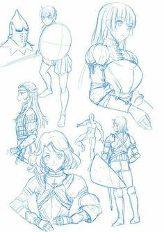 Drawing Reference Poses, Drawing Poses, Manga Drawing, Manga Art, Drawing Armor, Fantasy Concept Art, Game Concept Art, Figure Sketching, Anime Sketch