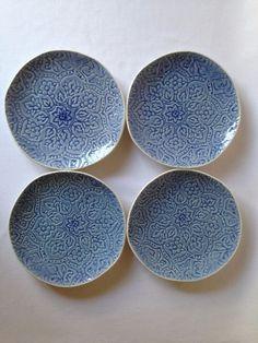 """ROSCHER Stoneware Round Salad Plates Set of 4 ~ Blue ~ 9 """" Diameter ~ New #Roscher"""