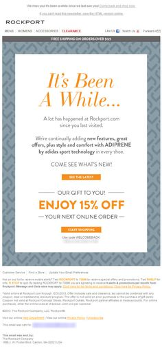 Sent: 12/11/13 SL:'Come See What's New!' Winback email example from Rockport with offer #winback #reengagement #email