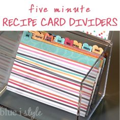 blue i style: {five minute friday} Quick and Cute Recipe Box Dividers