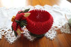 3D Origami Poinsettia Bowl